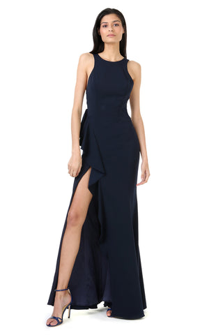 WATTERS MIDNIGHT ASYMMETRICAL RUFFLE GOWN