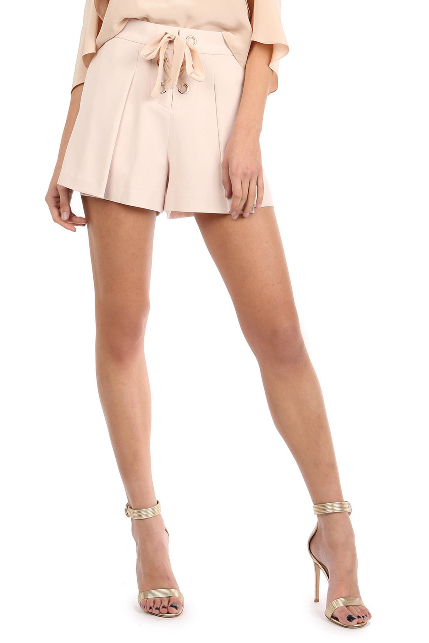 Jay Godfrey Sand Pleated Shorts - Front View