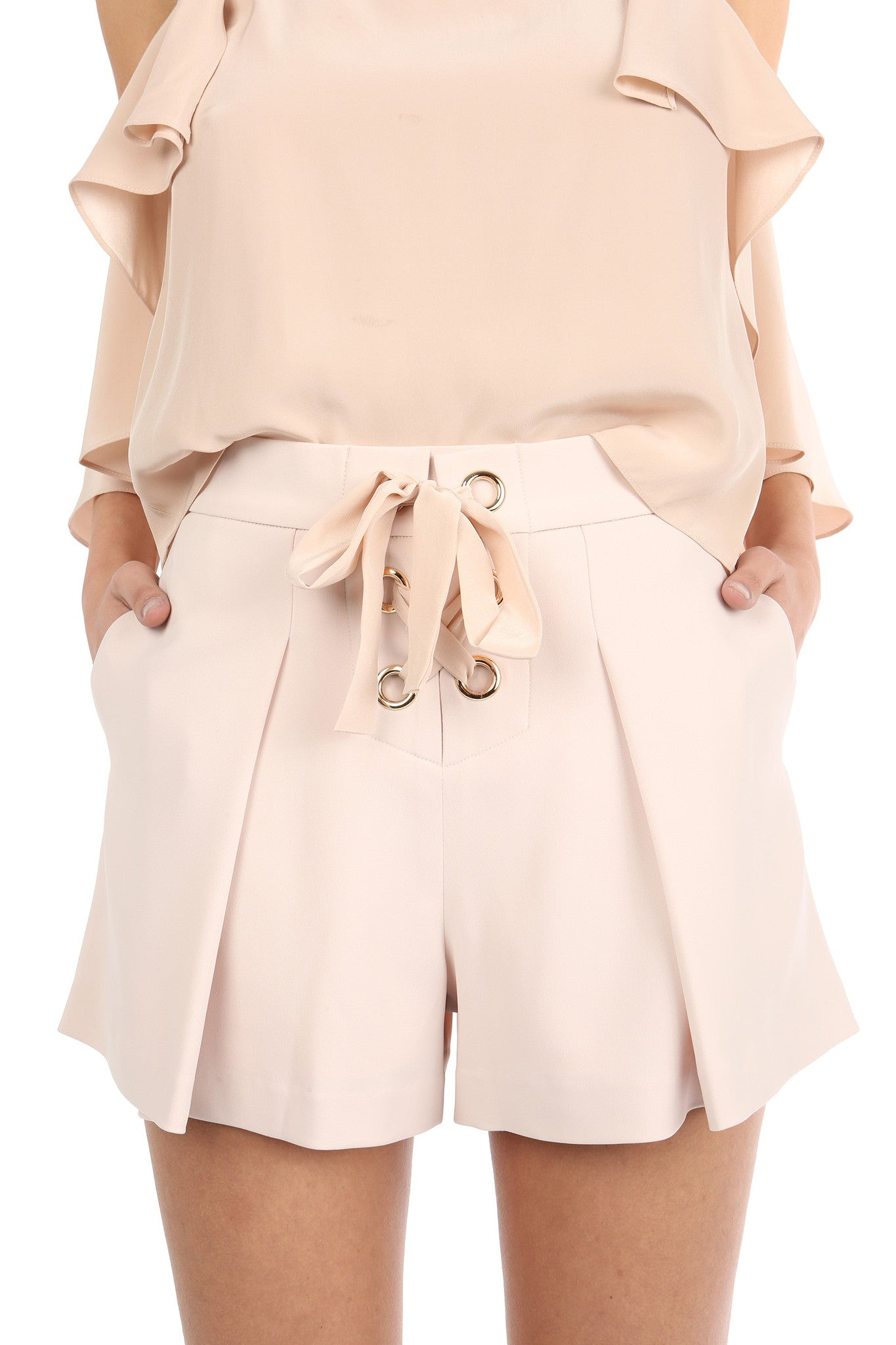 Jay Godfrey Sand Pleated Shorts - Zoom View