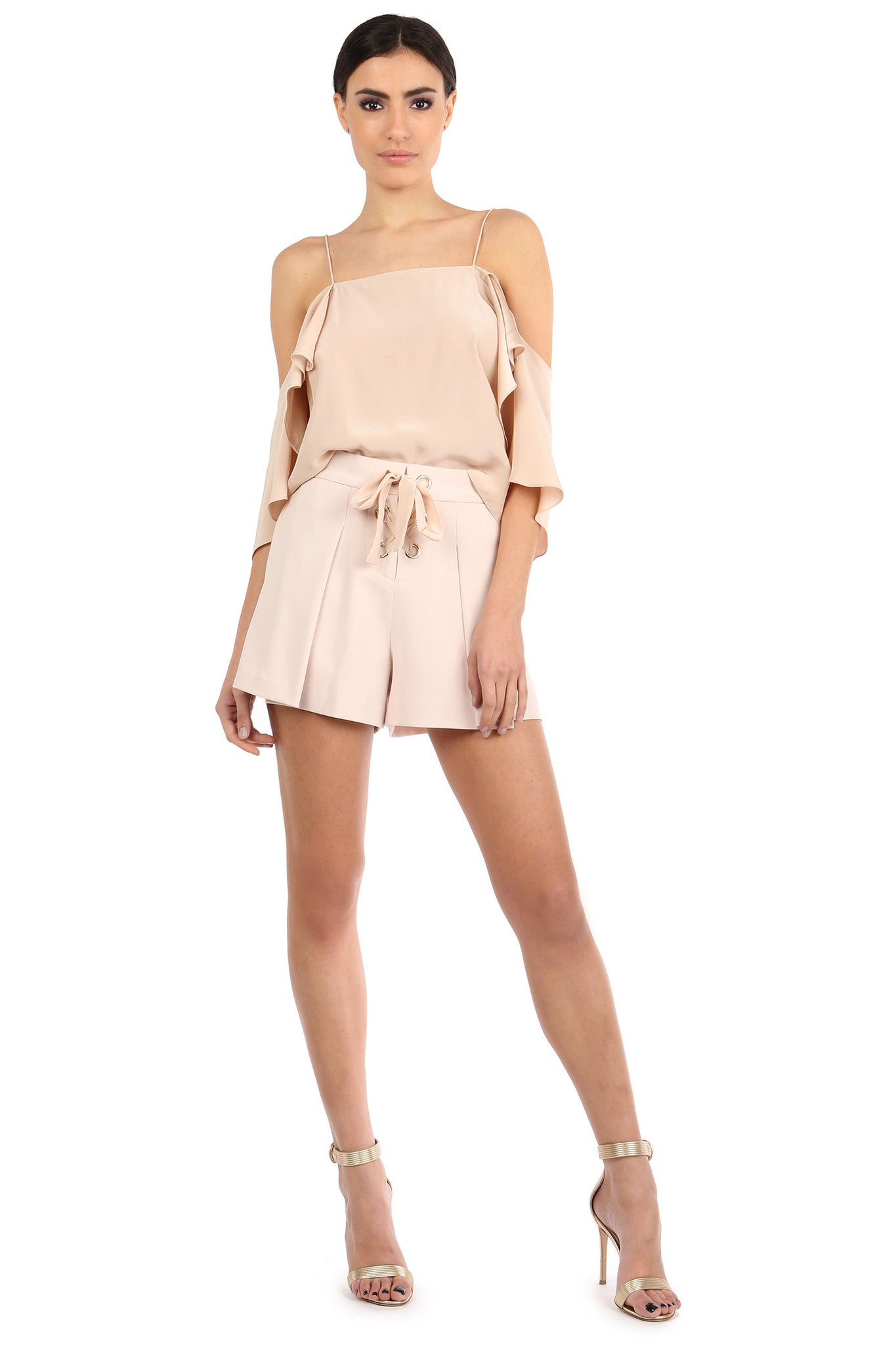 Jay Godfrey Sand Pleated Shorts - Full Front View