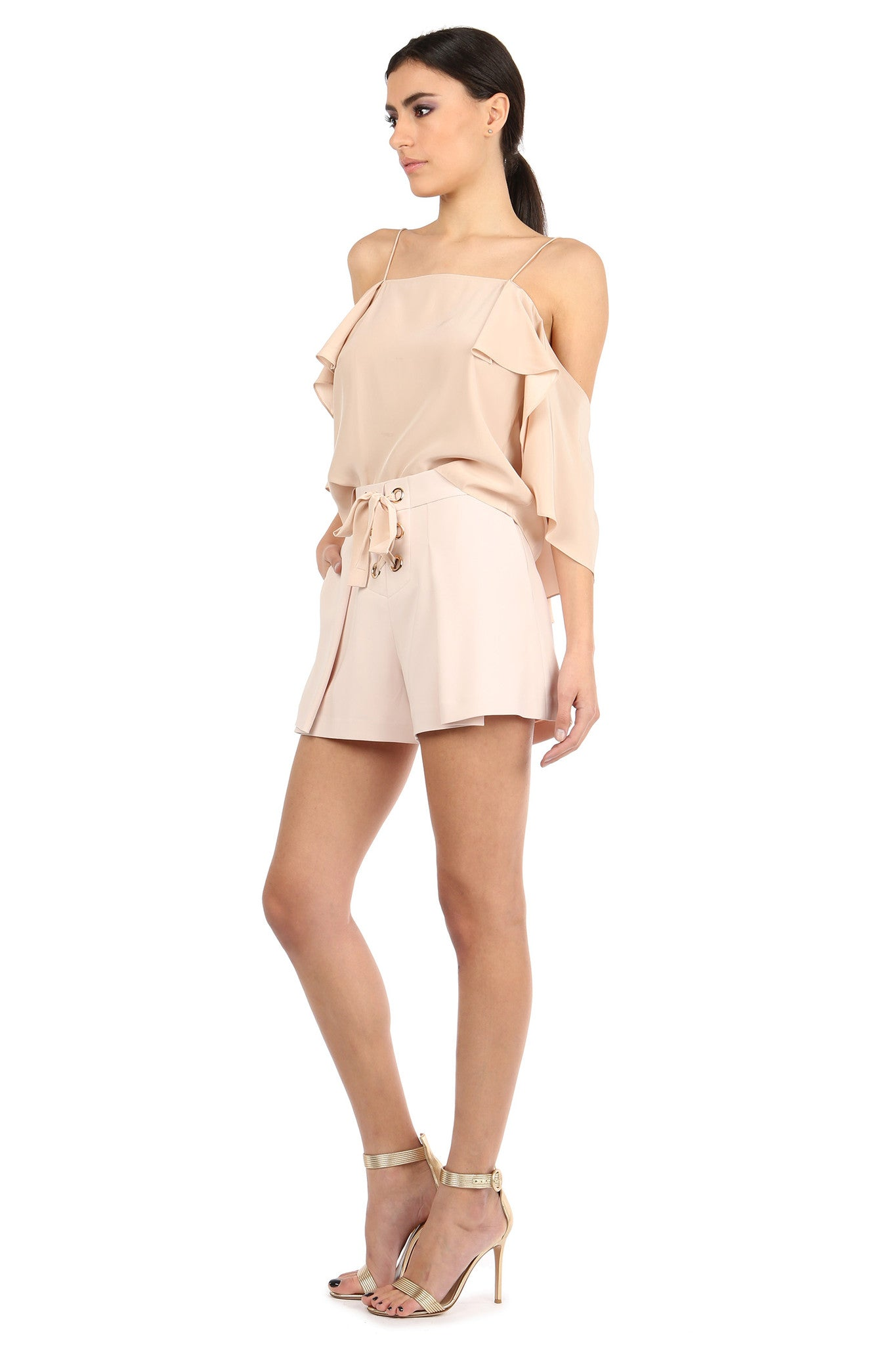 Jay Godfrey Sand Pleated Shorts - Side View