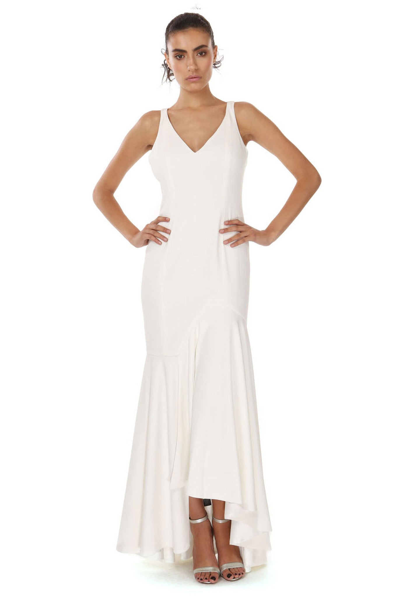 Jay Godfrey Ivory Waterfall Gown - Front View