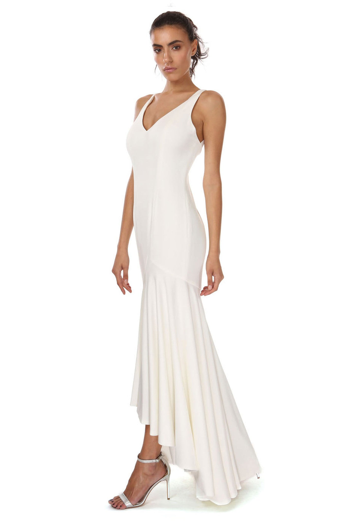Jay Godfrey Ivory Waterfall Gown - Side View