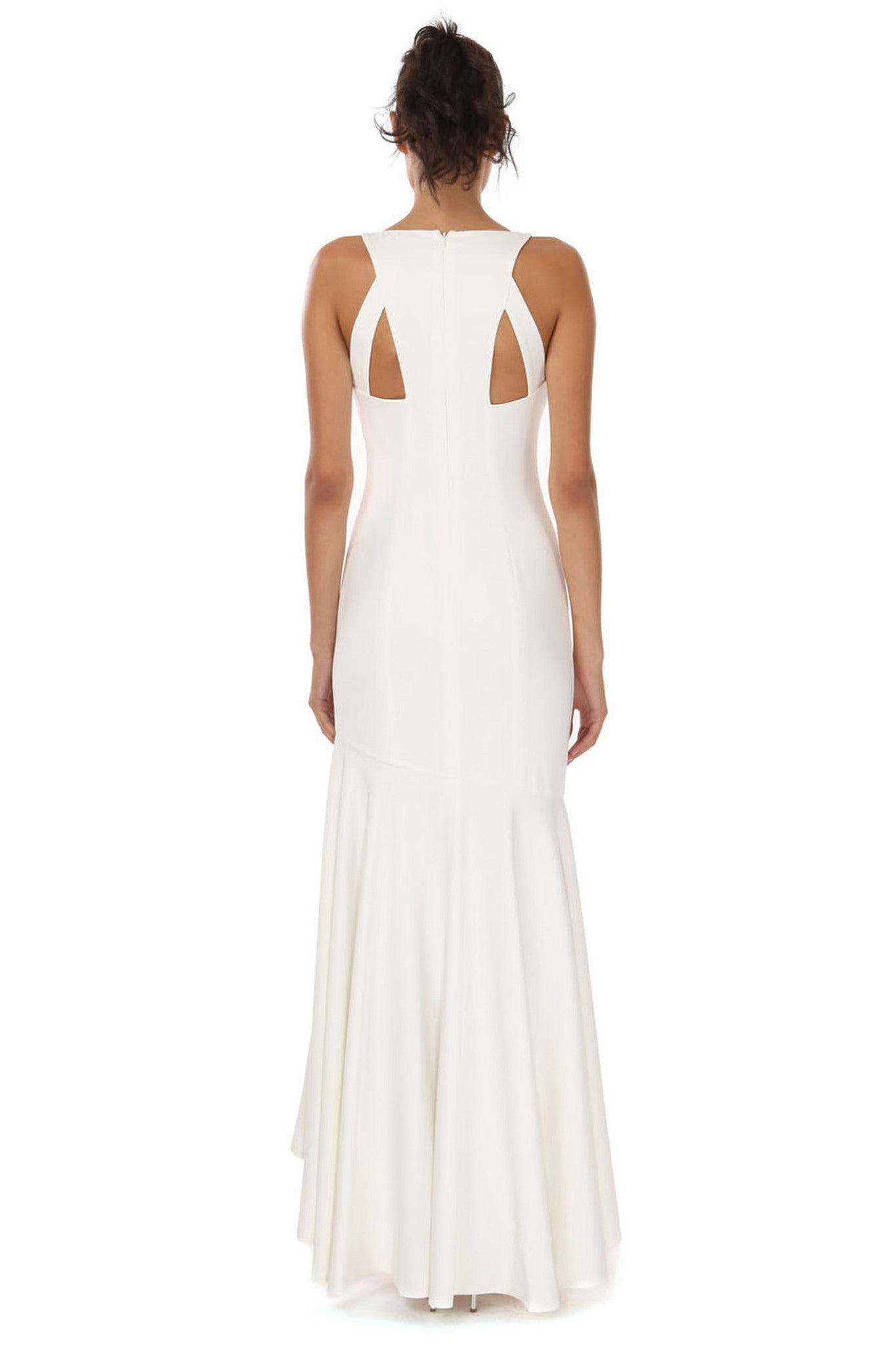 Jay Godfrey Ivory Waterfall Gown - Back View