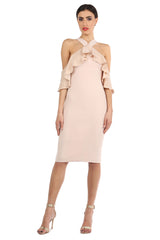 Jay Godfrey Sand Fitted Cold-Shoulder Dress - Front View