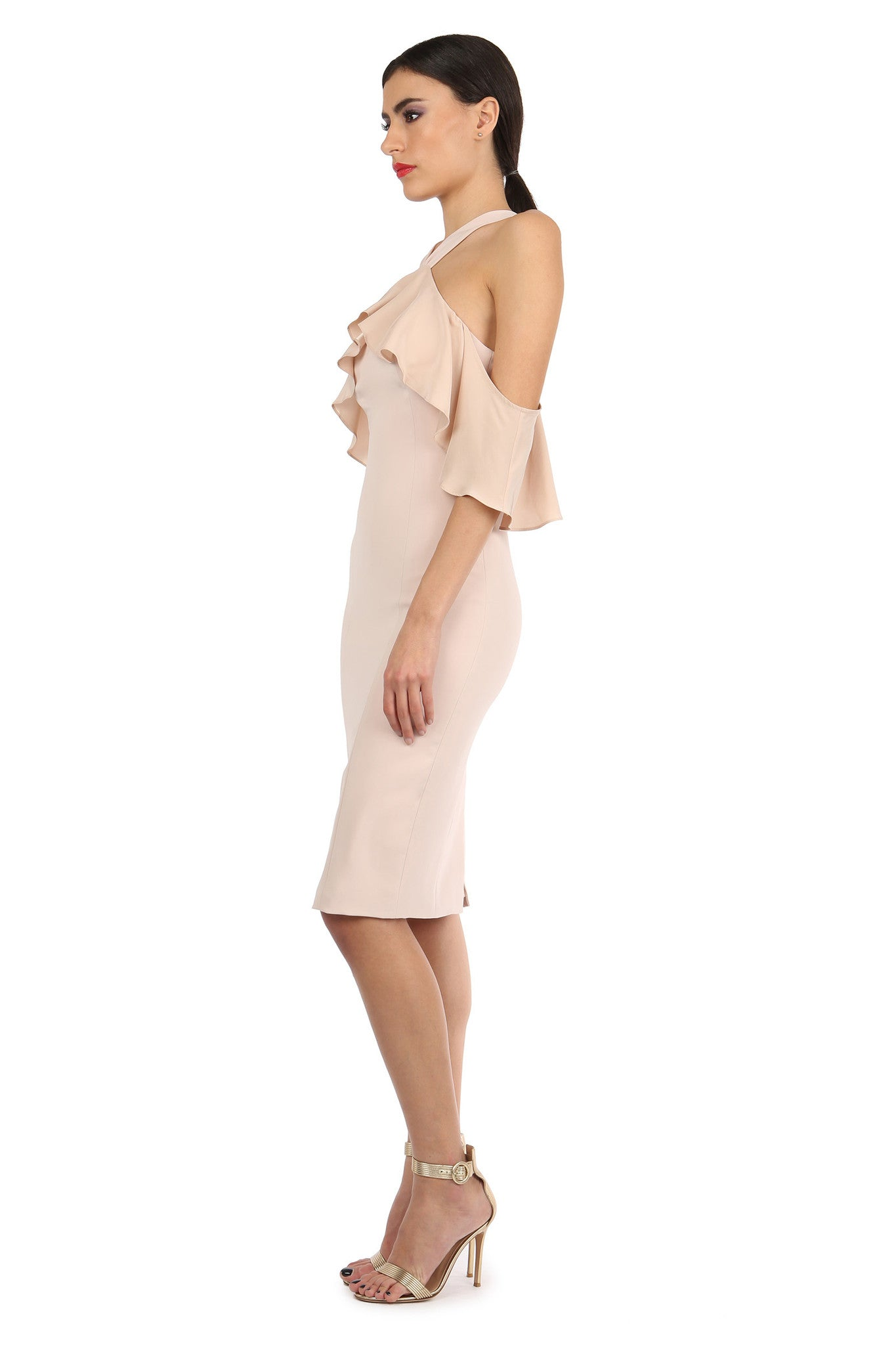 Jay Godfrey Sand Fitted Cold-Shoulder Dress - Side View