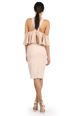 Jay Godfrey Sand Fitted Cold-Shoulder Dress - Back View