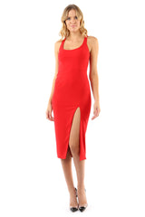 Jay Godfrey Red Fitted Scoop Neck Dress - Front View