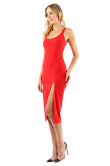Jay Godfrey Red Fitted Scoop Neck Dress - Side View