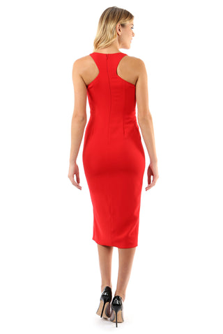 WITHERSPOON BRIGHT RED SLIT MIDI DRESS