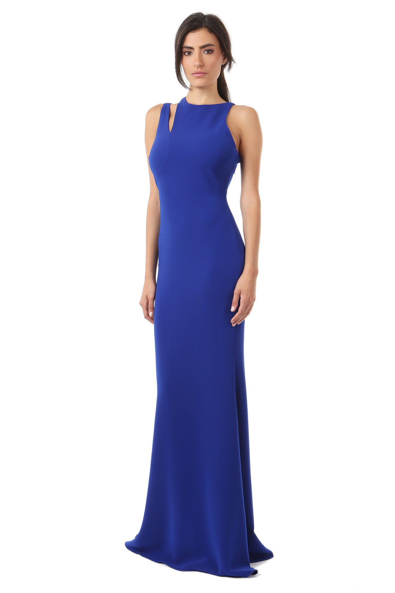 Jay Godfrey Cobalt Shoulder Cut-Out Gown - Front View