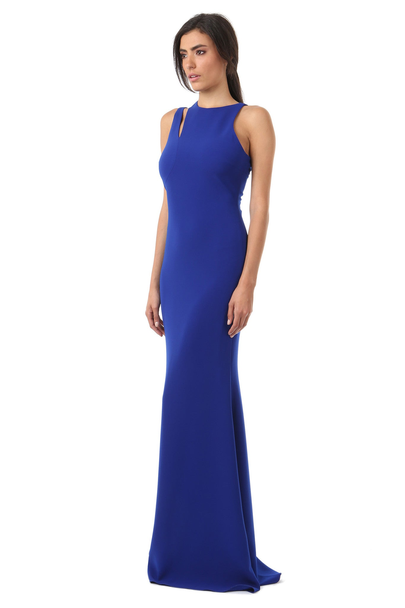 Jay Godfrey Cobalt Shoulder Cut-Out Gown - Side View