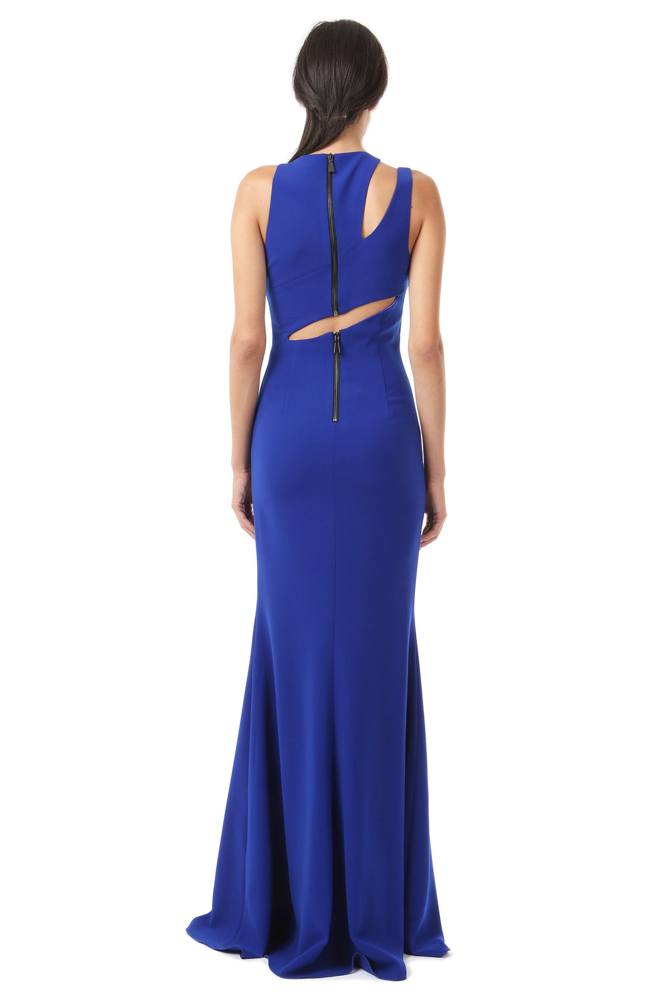 Jay Godfrey Cobalt Shoulder Cut-Out Gown - Back View