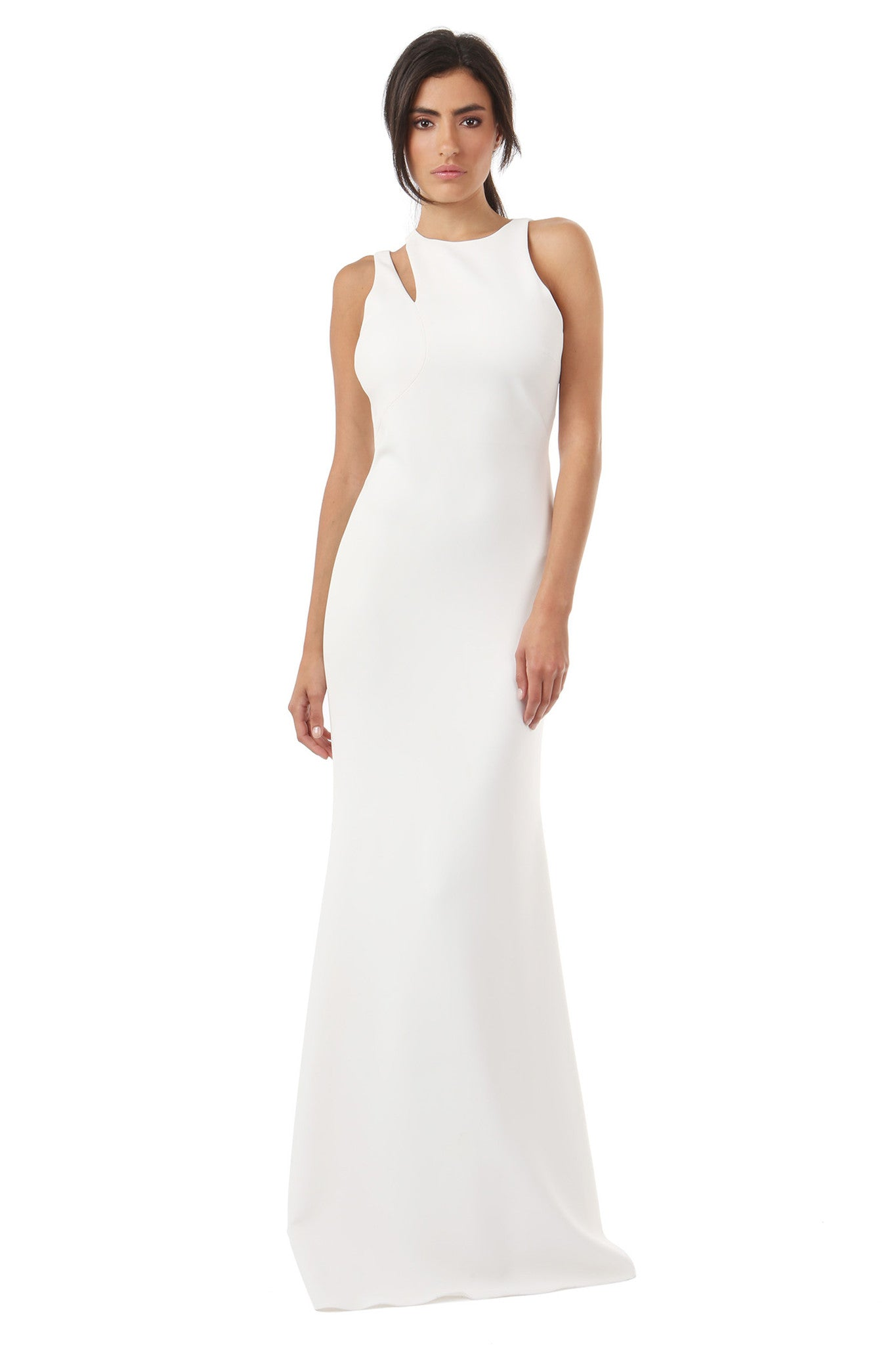 Jay Godfrey Ivory Shoulder Cut-Out Gown - Front View