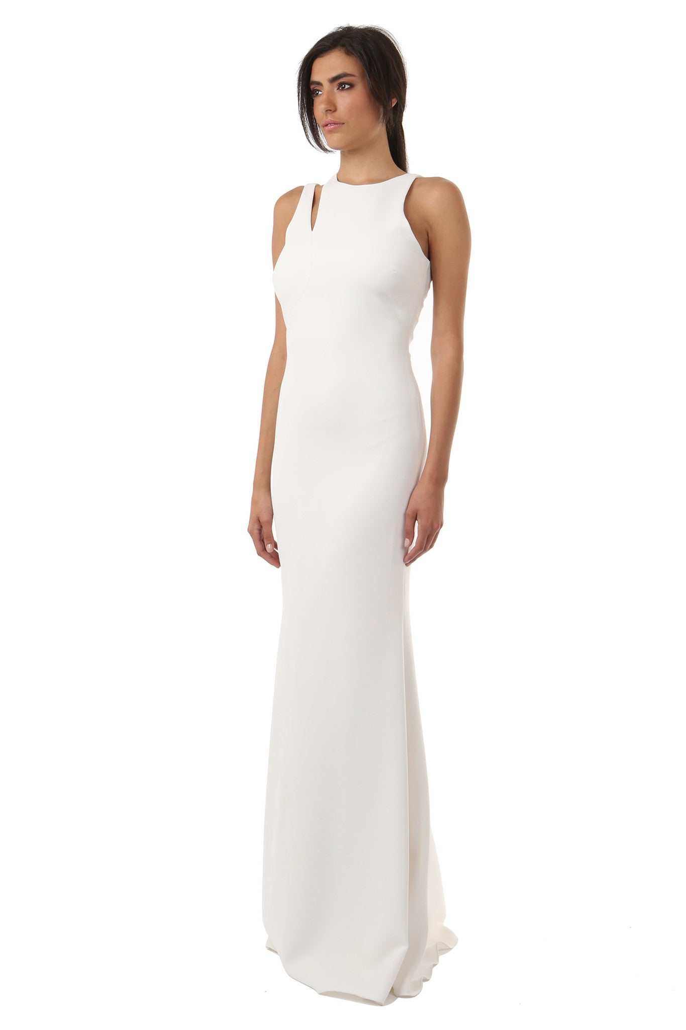 Jay Godfrey Ivory Shoulder Cut-Out Gown - Side View