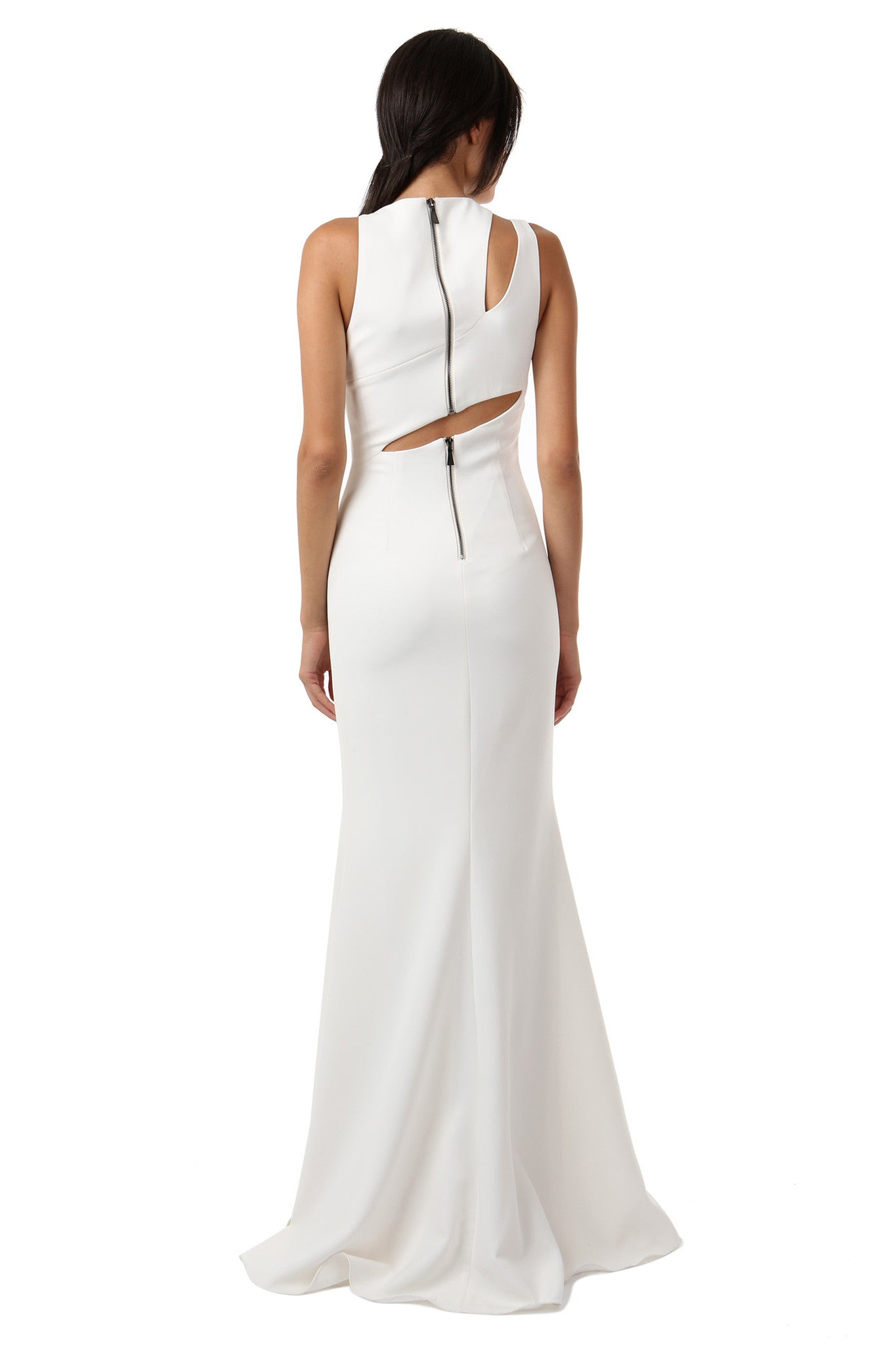 Jay Godfrey Ivory Shoulder Cut-Out Gown - Back View