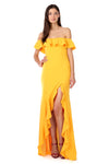 Yellow Gold Off-the-Shoulder Ruffle Gown - Front View