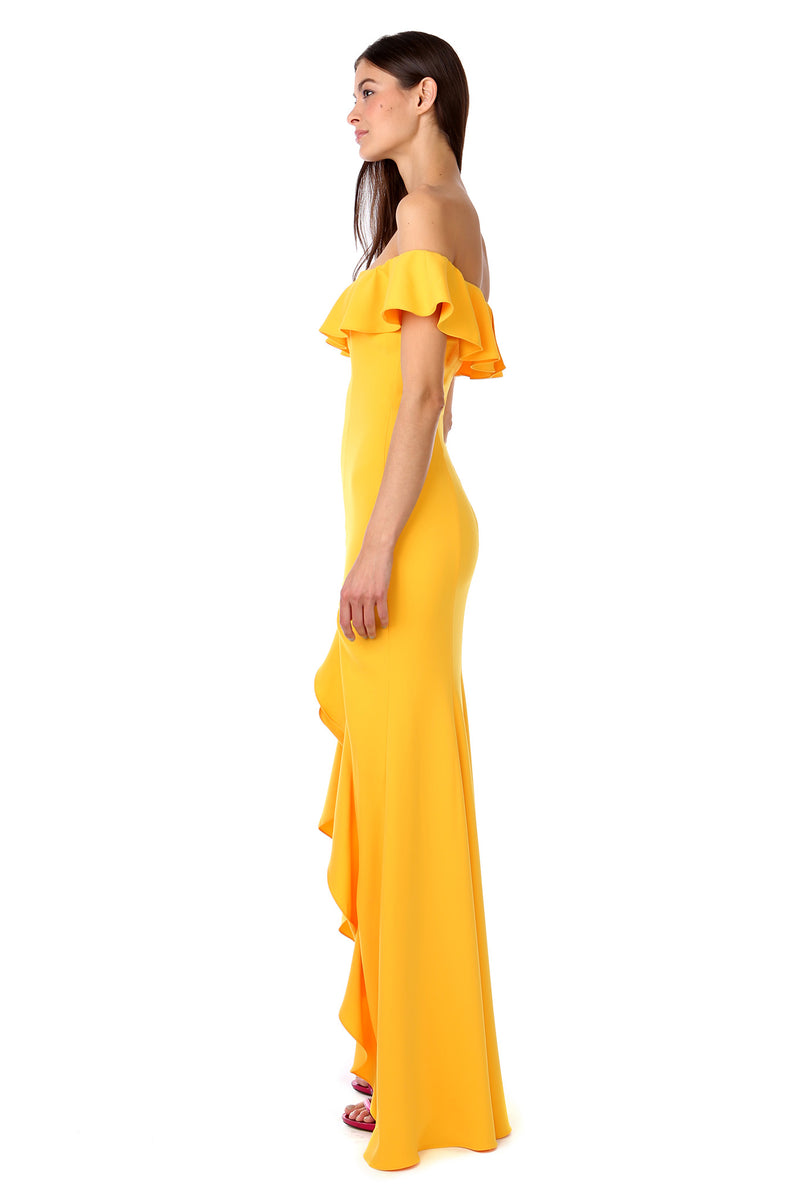 Yellow Gold Off-the-Shoulder Ruffle Gown - Side View
