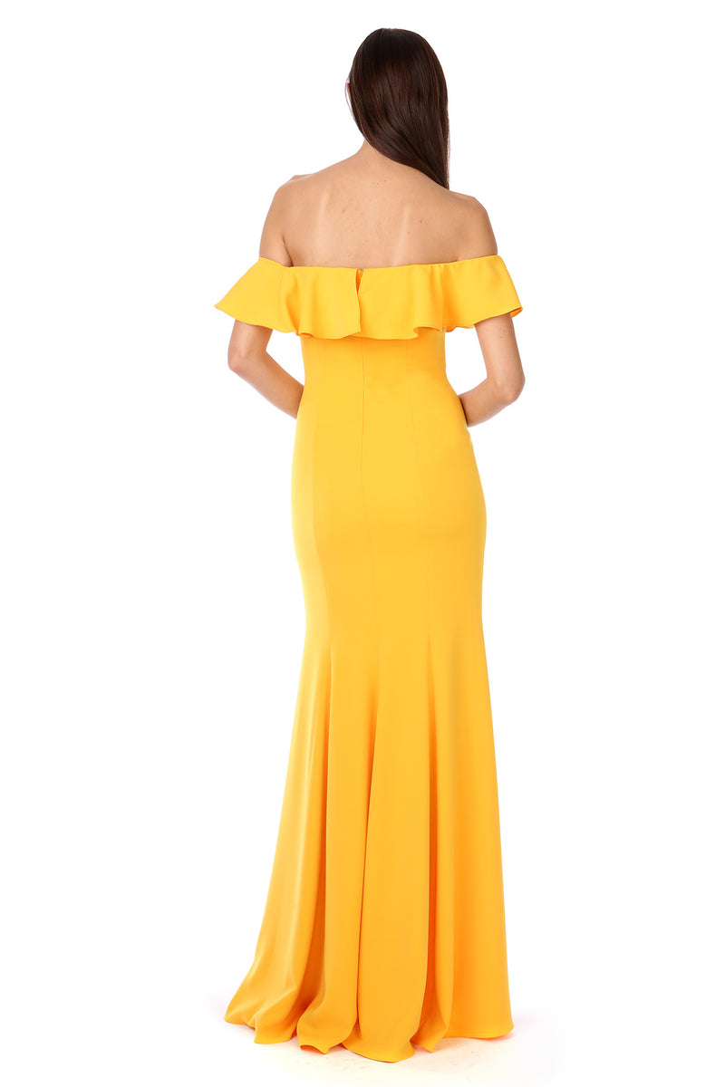 Yellow Gold Off-the-Shoulder Ruffle Gown - Back View