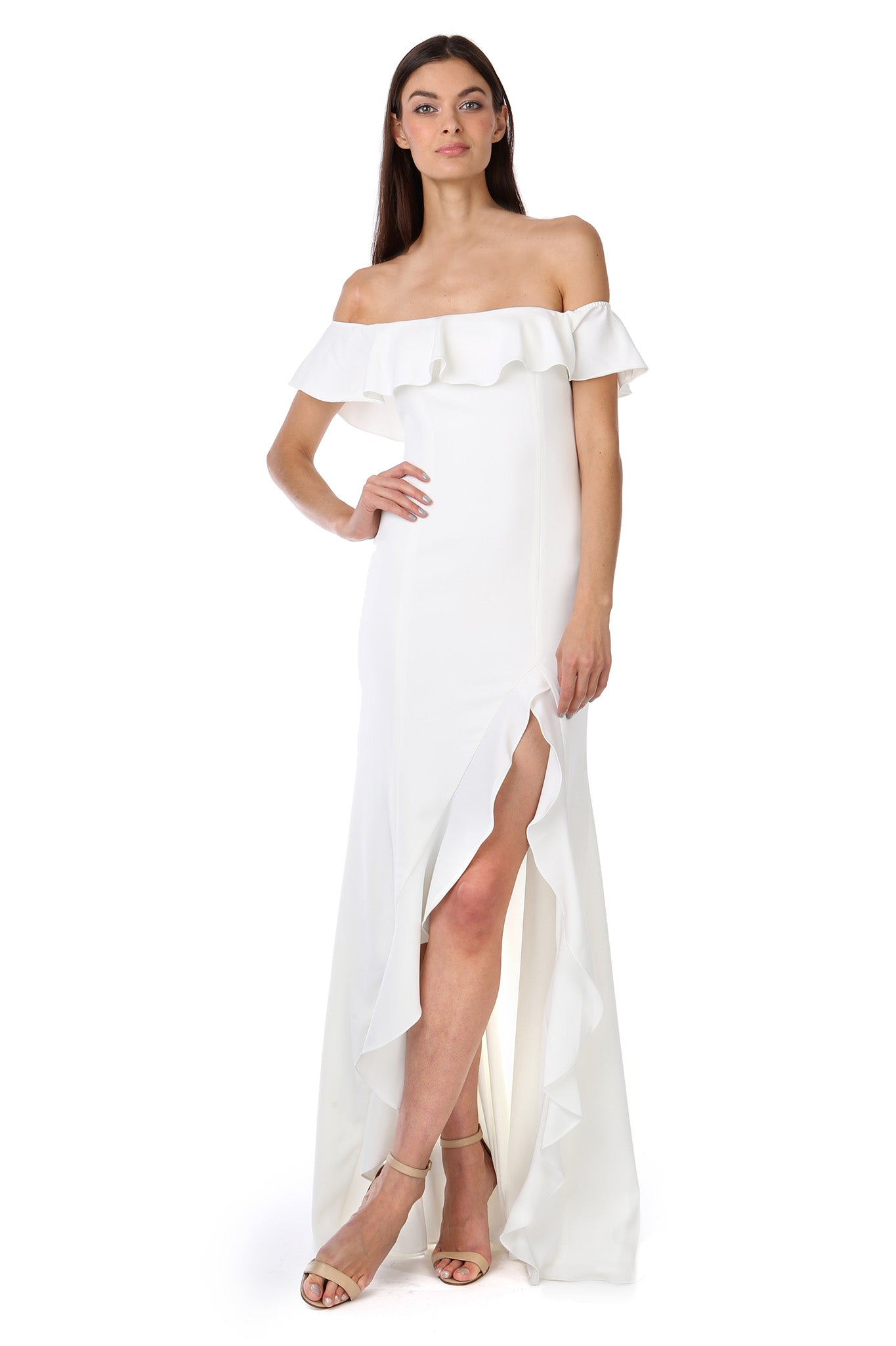 Light Ivory White Off-the-Shoulder Ruffle Gown - Front View