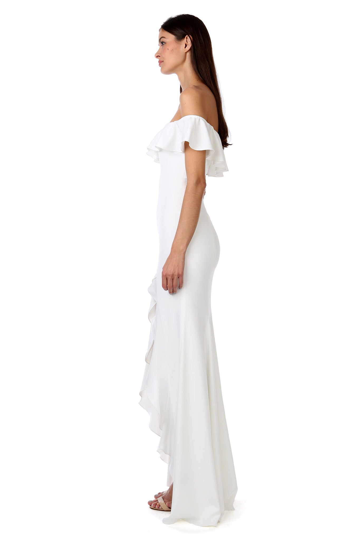 BALON LIGHT IVORY RUFFLE SHOULDER GOWN