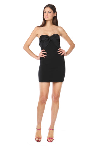Black Silky Bandeau Strapless Mini Dress - Back View