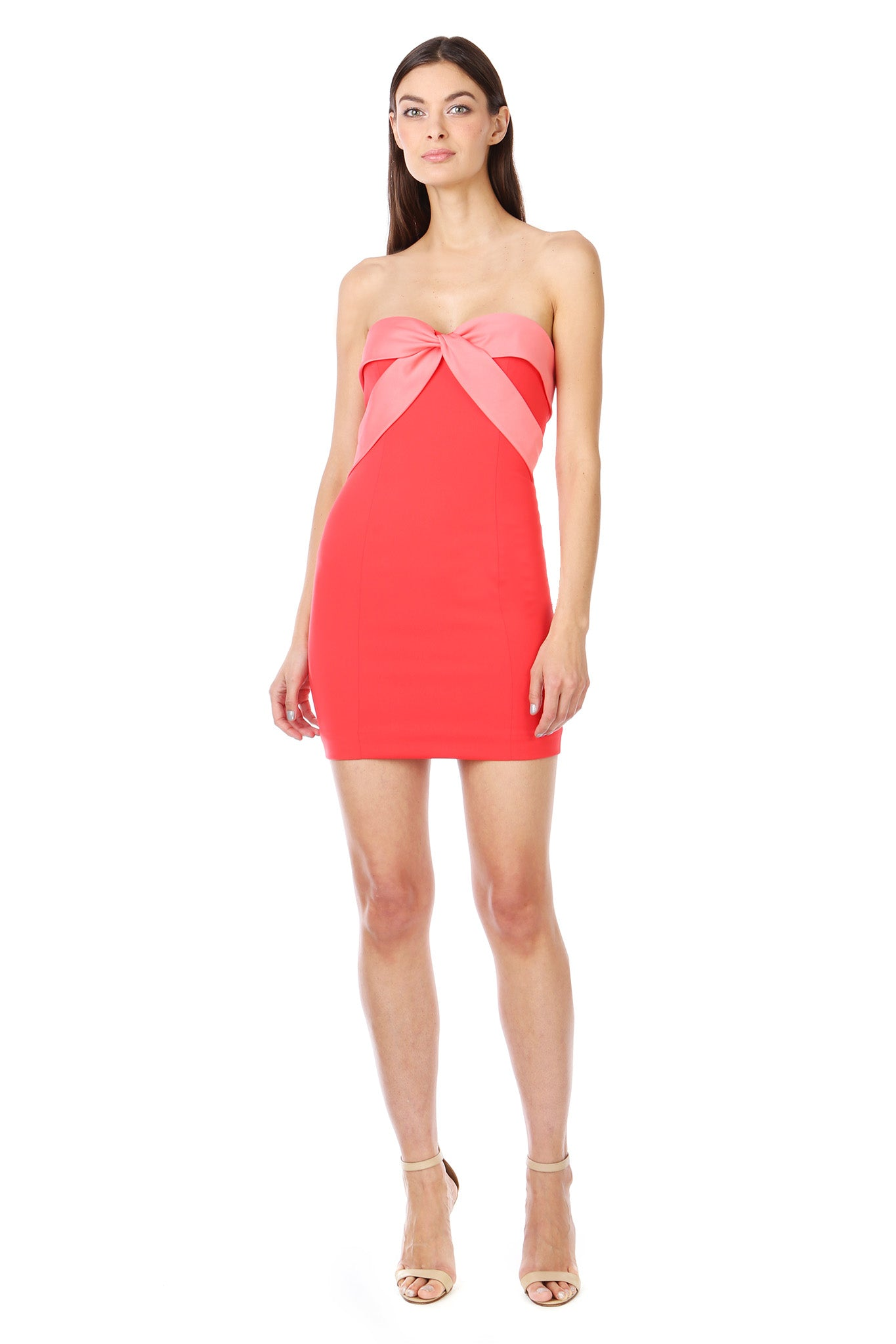Coral Red Silky Bandeau Strapless Mini Dress - Front View