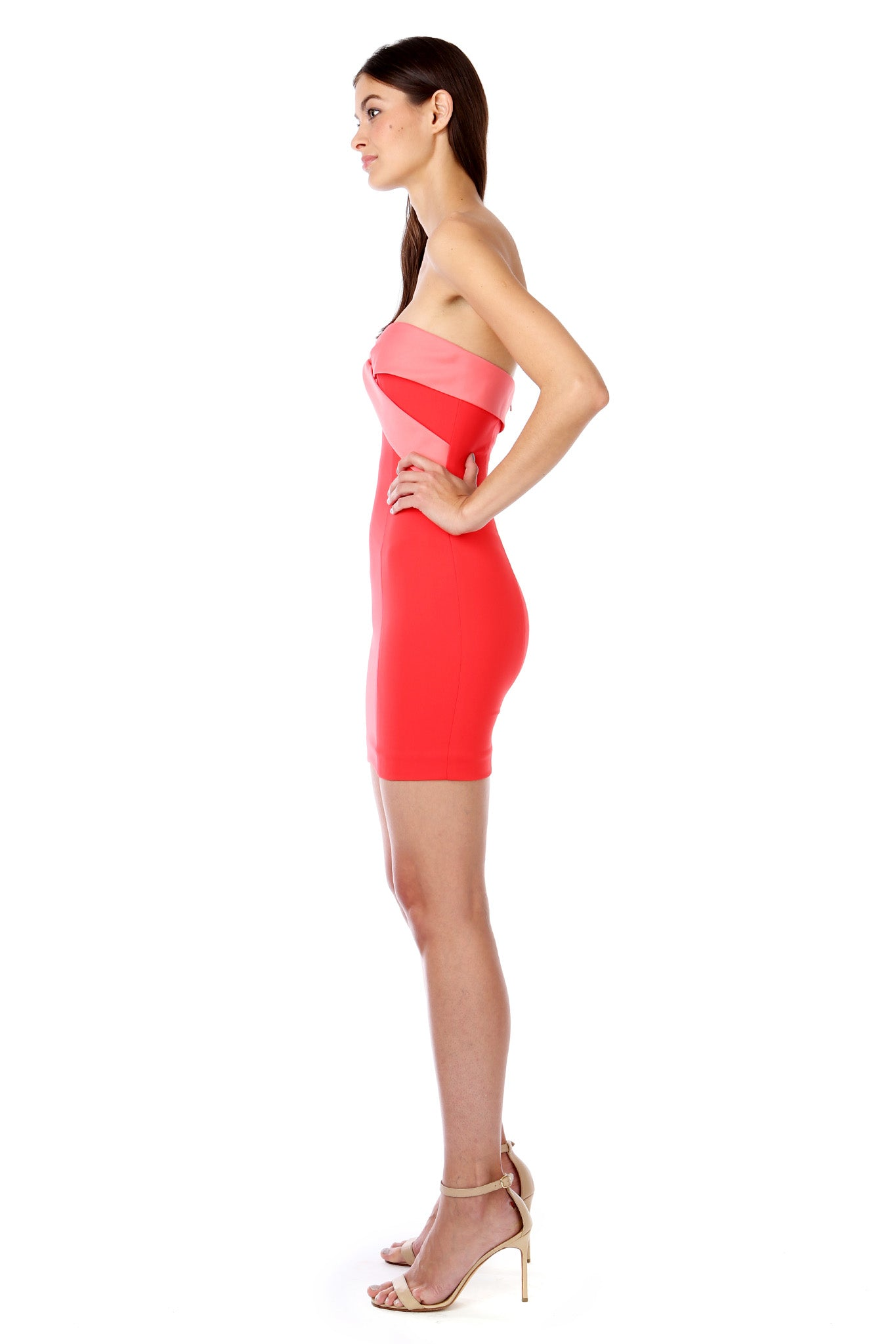 Coral Red Silky Bandeau Strapless Mini Dress - Side View