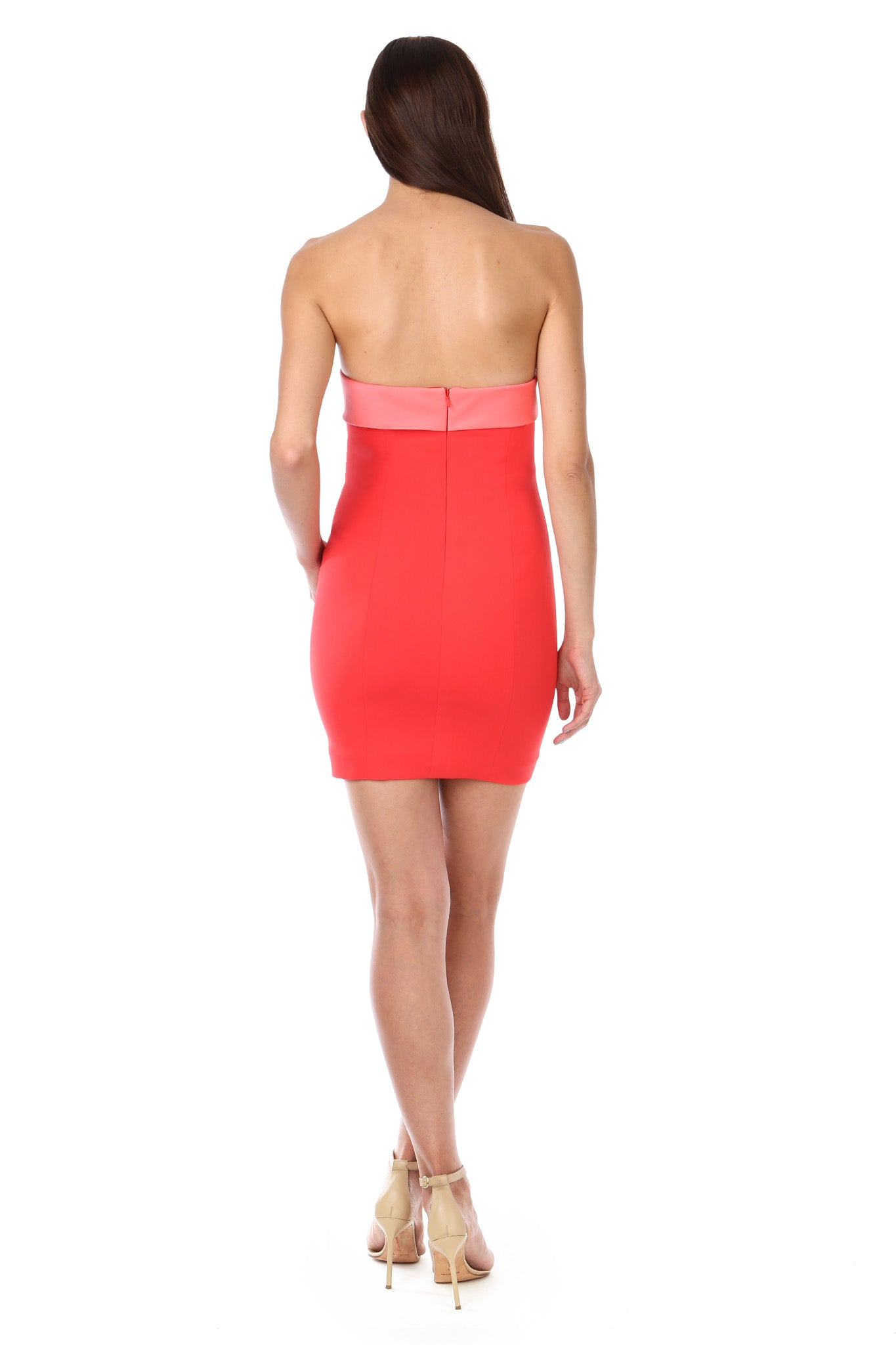 Coral Red Silky Bandeau Strapless Mini Dress - Back View
