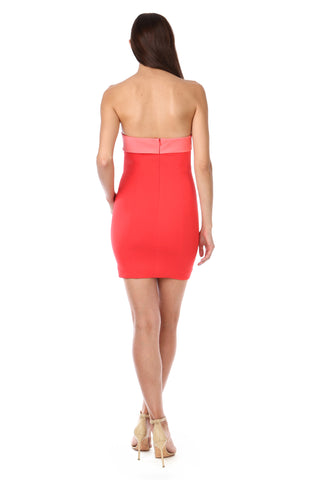 CARICE CORAL RED TWIST FRONT MINI DRESS