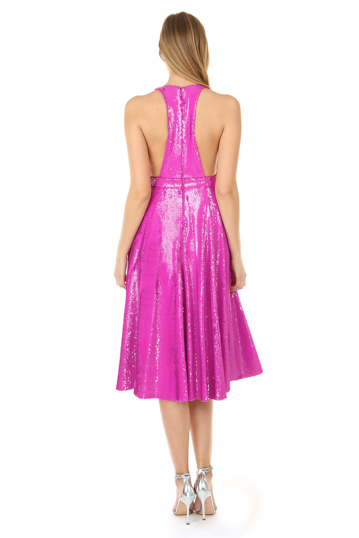 CLARA FUCHSIA SEQUIN MIDI DRESS