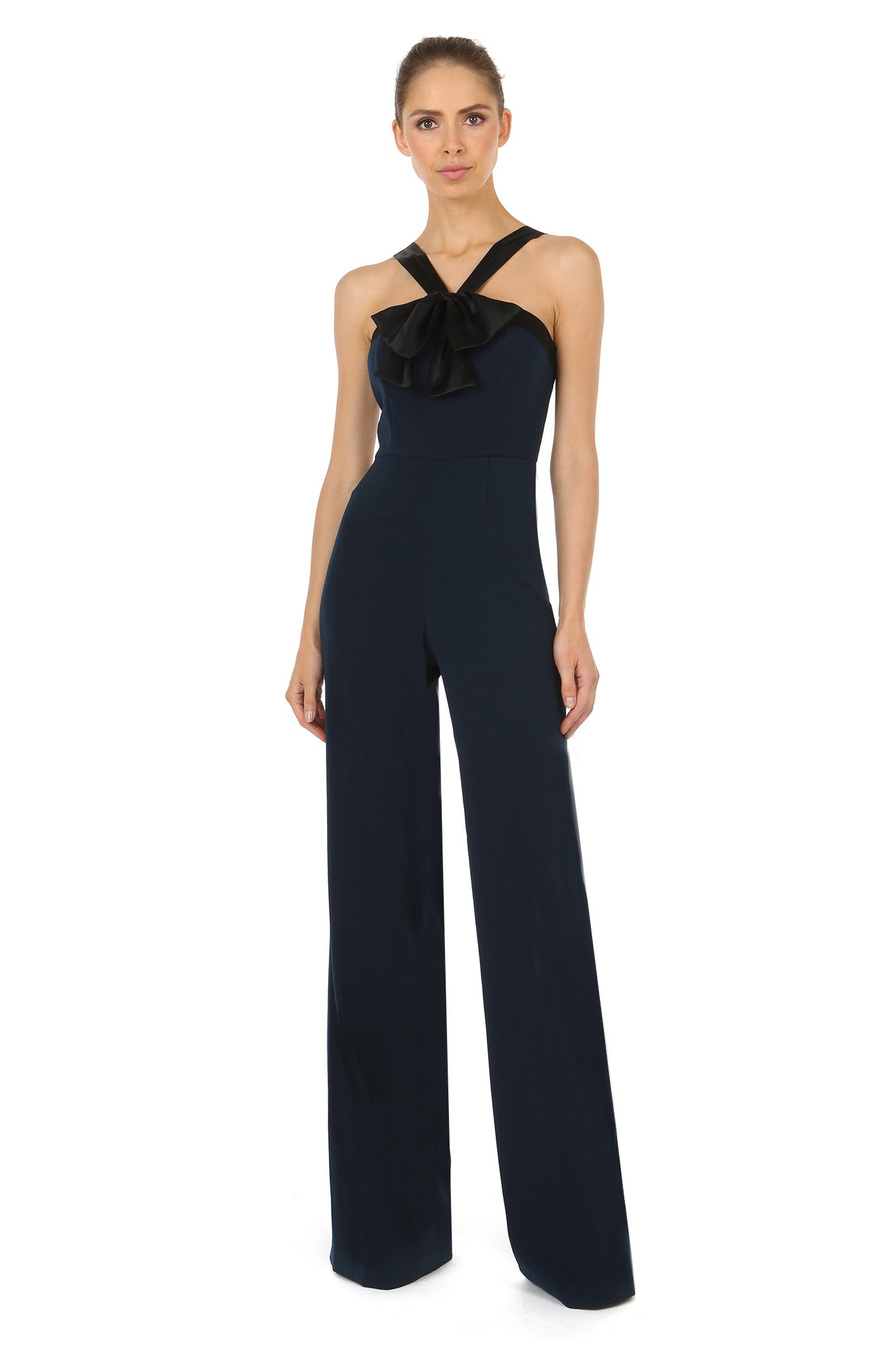 Jay Godfrey Navy Bow Jumpsuit - Front View