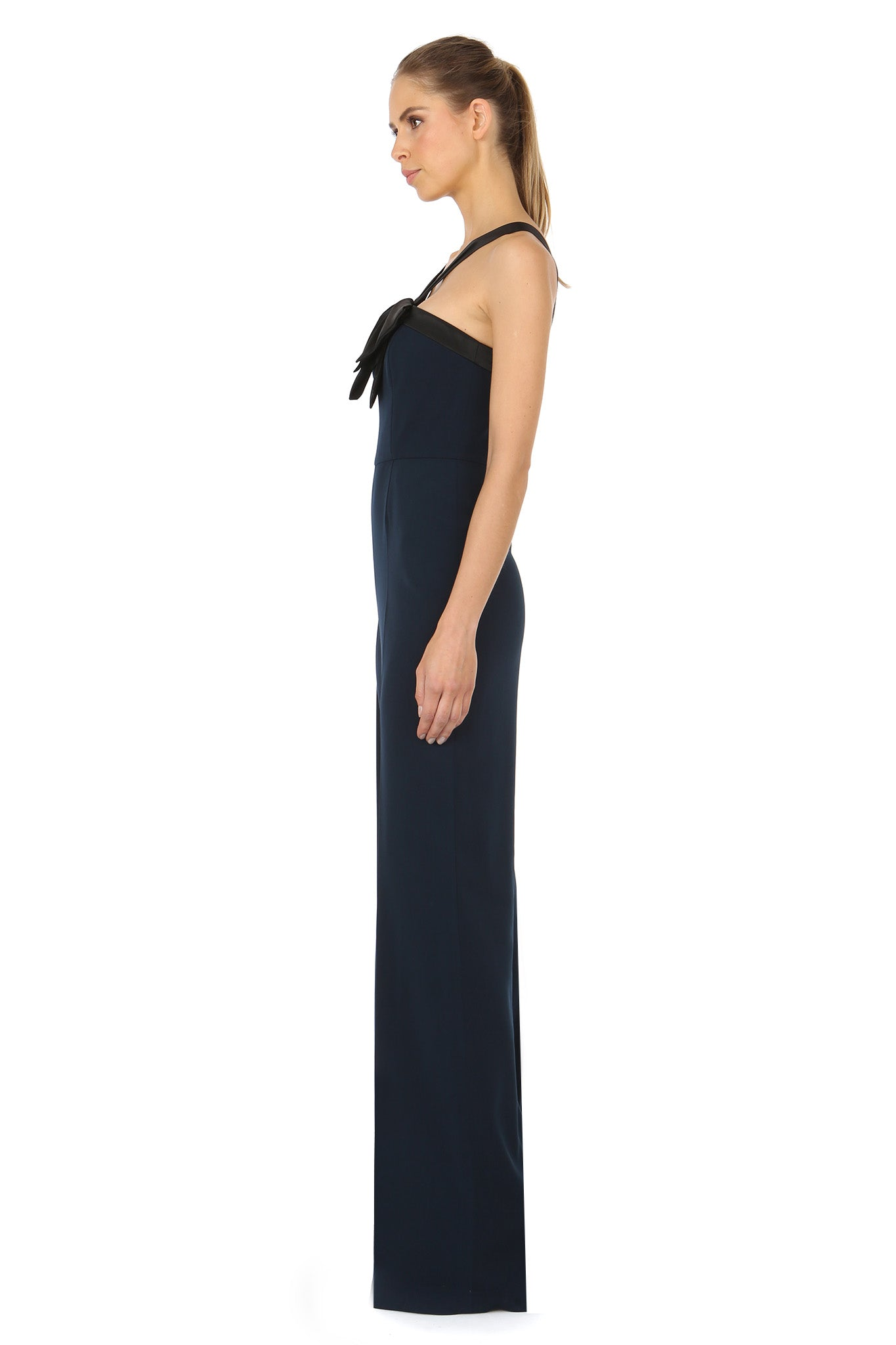 Jay Godfrey Navy Bow Jumpsuit - Side View