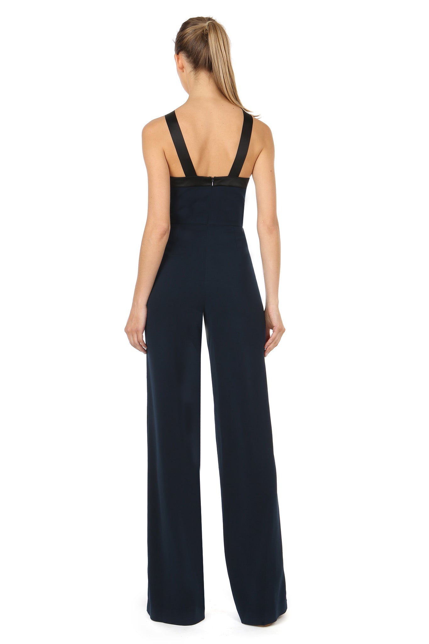Jay Godfrey Navy Bow Jumpsuit - Back View