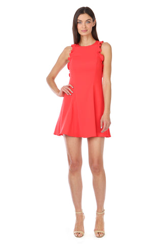 ELLARIA CORAL RED FIT AND FLARE DRESS