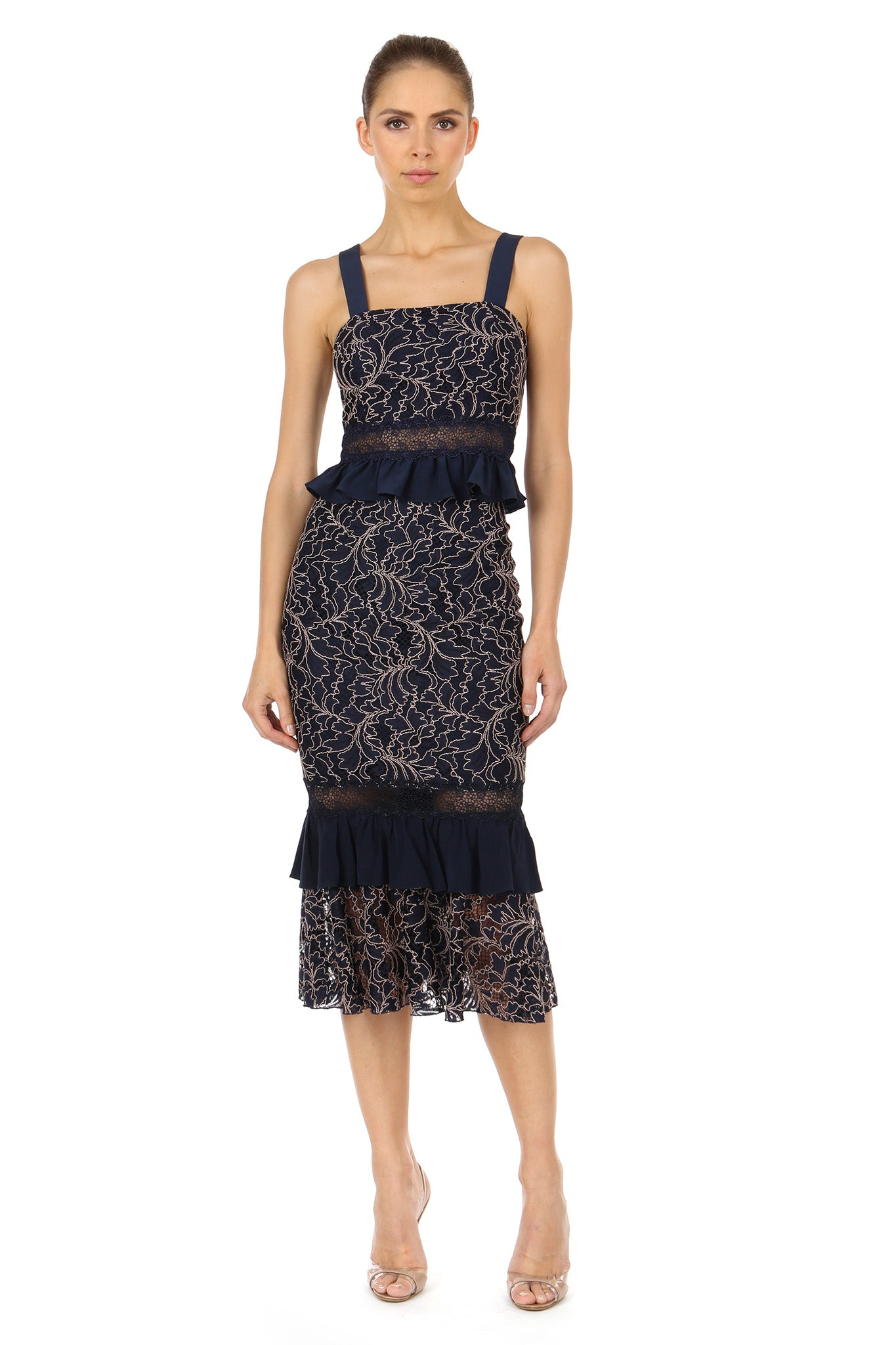 Jay Godfrey Navy Lace Top and Skirt Set - Front View