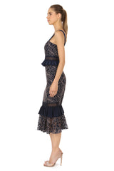 Jay Godfrey Navy Lace Top and Skirt Set - Side View
