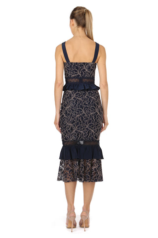 ESSENSA NAVY LACE TOP AND SKIRT SET - FINAL SALE