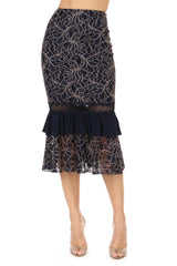 Jay Godfrey Navy Lace Top and Skirt Set - Skirt View