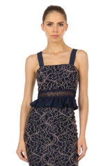 Jay Godfrey Navy Lace Top and Skirt Set - Top View