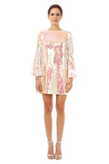 Jay Godfrey Pink Sequin Flare Dress with Bell Sleeves - Front View