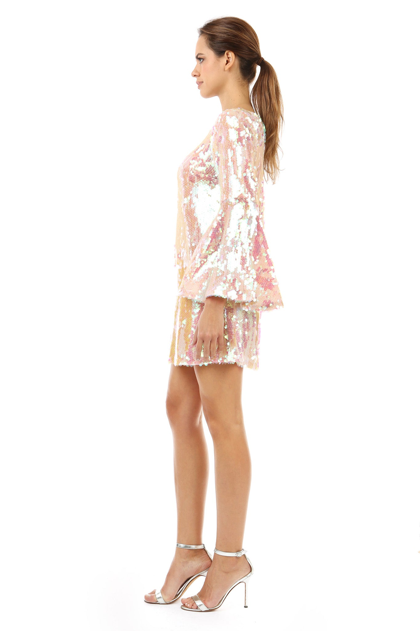 Jay Godfrey Pink Sequin Flare Dress with Bell Sleeves - Side View