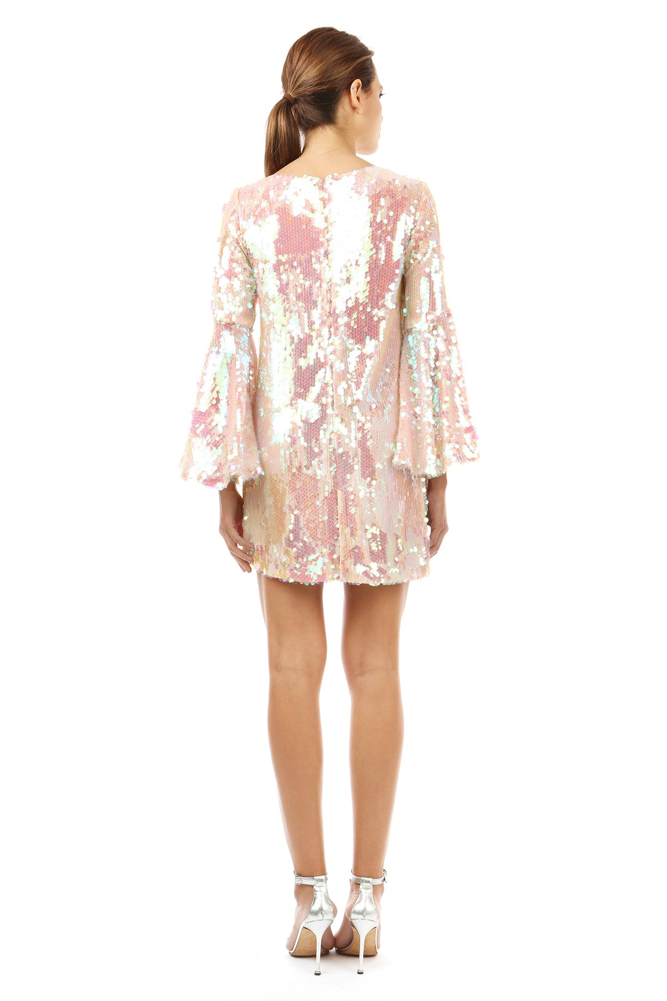 Jay Godfrey Pink Sequin Flare Dress with Bell Sleeves - Back View