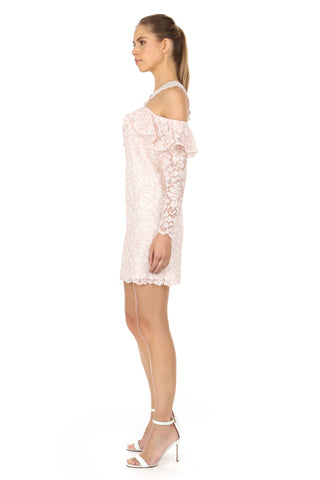 HEXTALL WHITE LACE COLD-SHOULDER DRESS