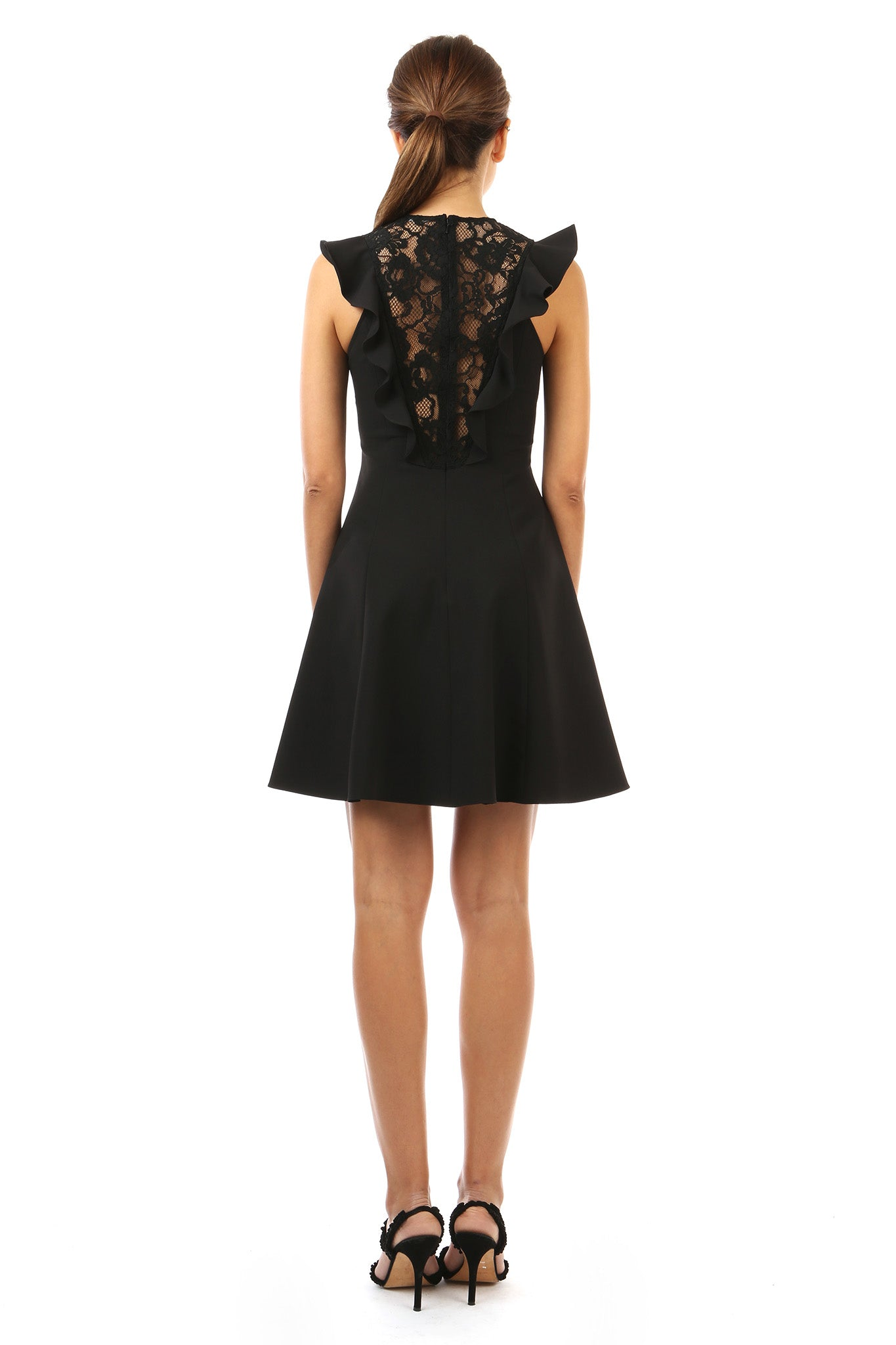 Jay Godfrey Black Day Dress with Lace - Back View