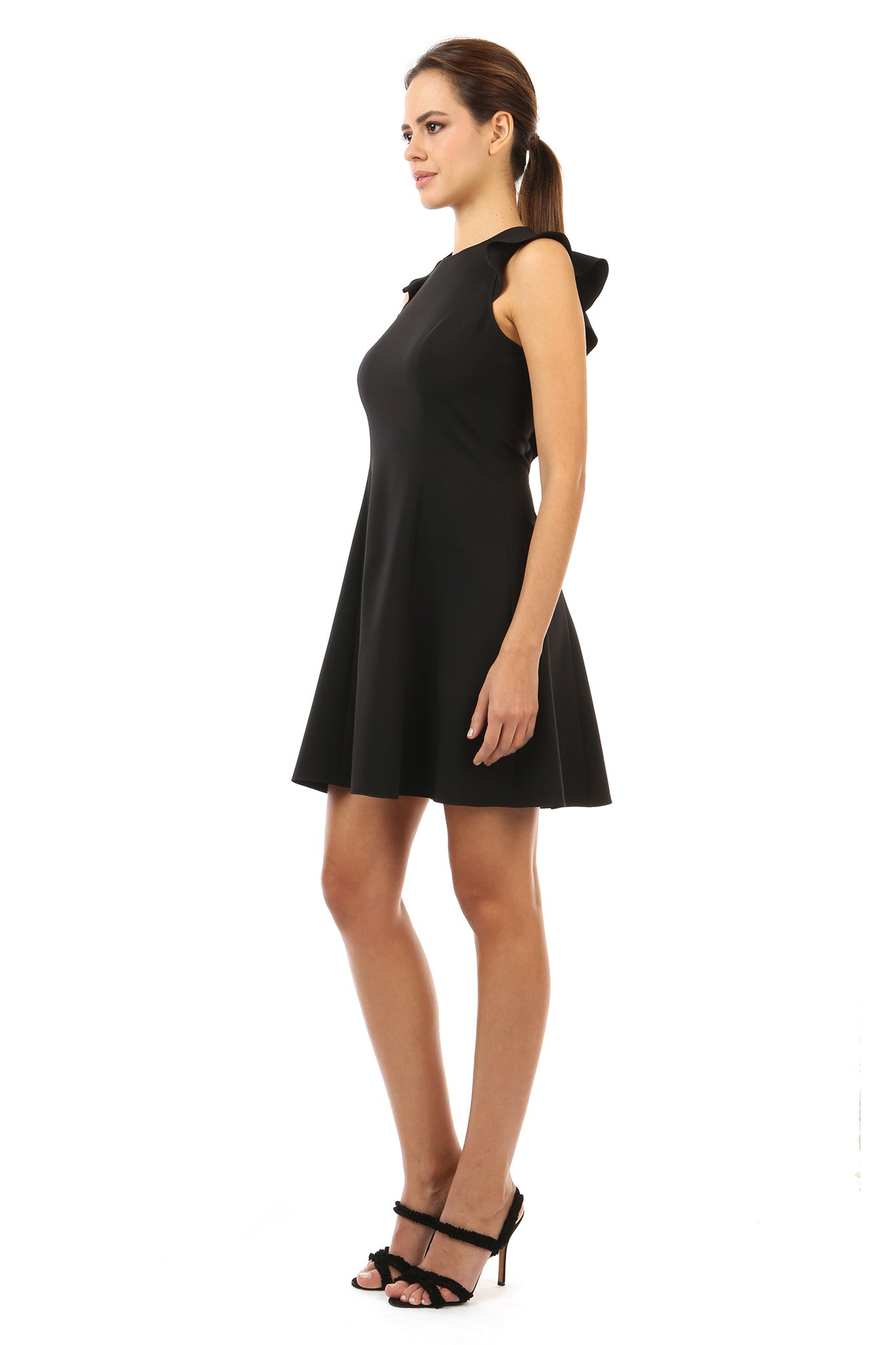 Jay Godfrey Black Day Dress with Lace - Side View