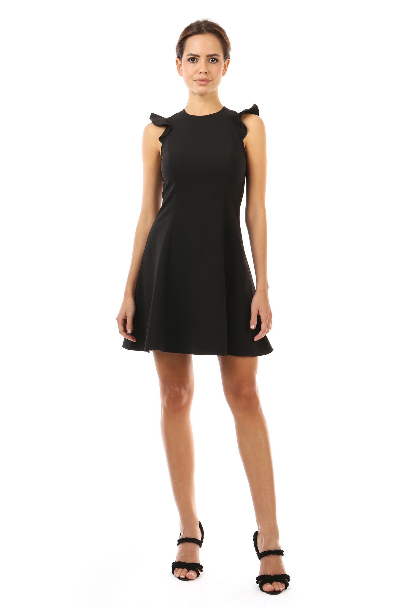 Jay Godfrey Black Day Dress with Lace - Front View