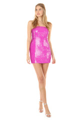 LANCEL FUCHSIA SEQUIN MINI DRESS
