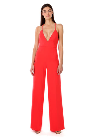 Coral Red Deep-V Jumpsuit - Front View