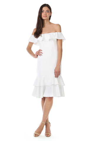 Light Ivory White Ruffle Off-the-Shoulder Dress - Front View